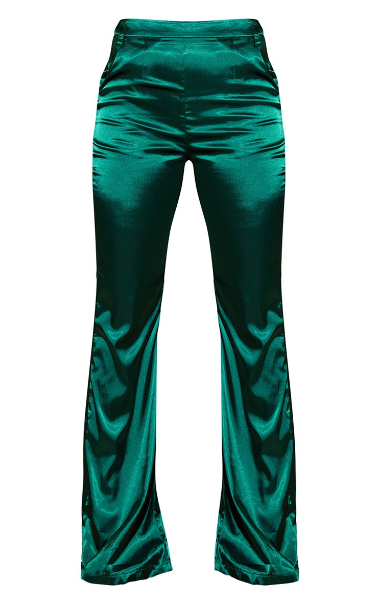 Plus Emerald Green Satin Wide Leg Pants 4