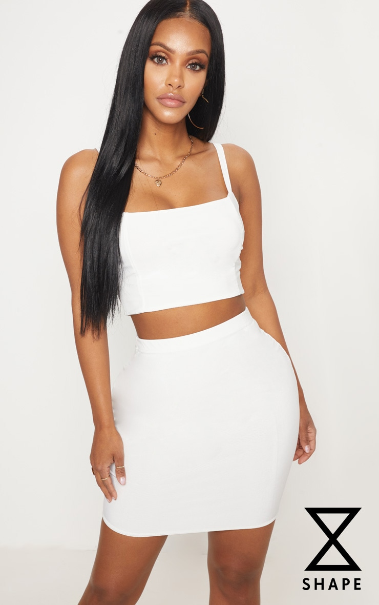 Shape Ivory Slinky Panelled Crop Top 1