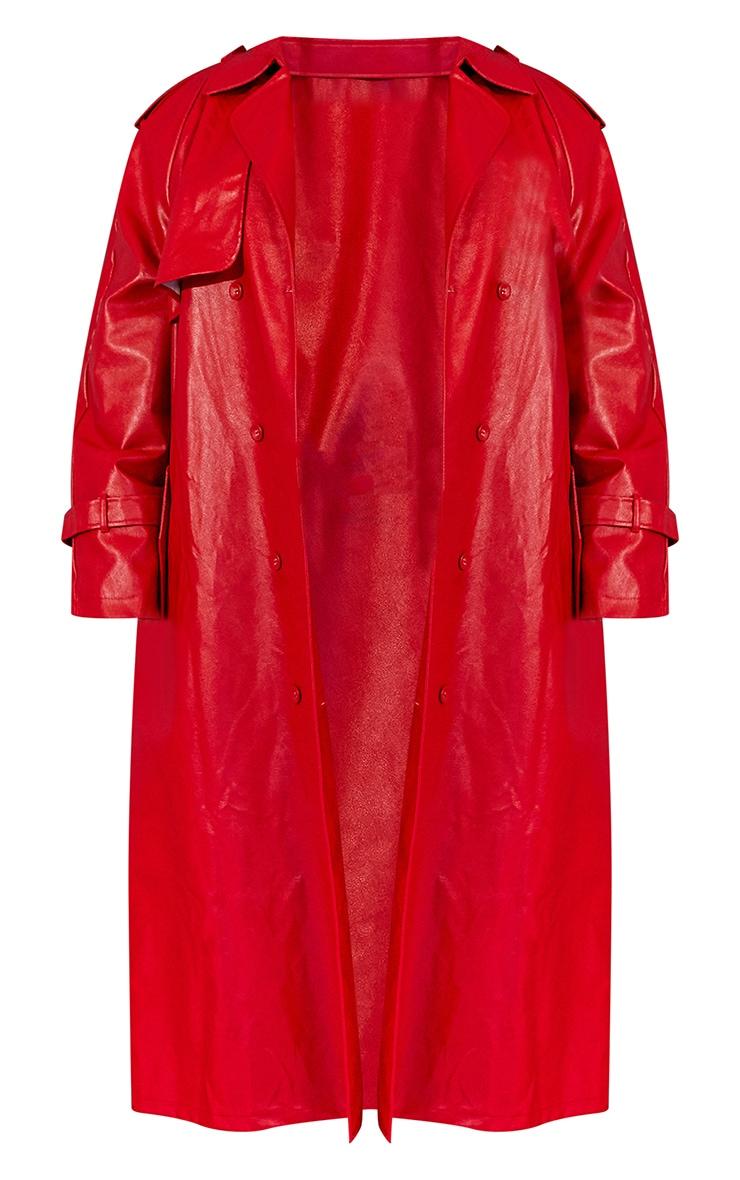 Plus Red Unisex PU Oversized Trench Coat 6