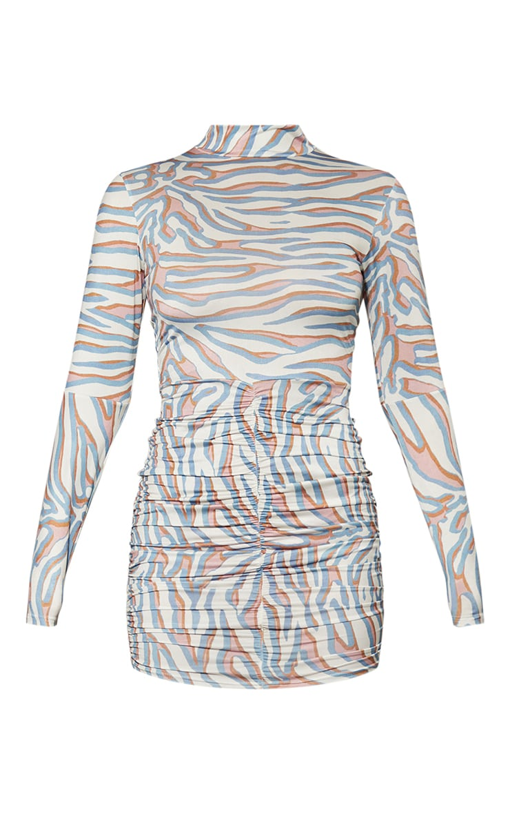 Nude Zebra Printed Slinky High Neck Ruched Skirt Bodycon Dress 5