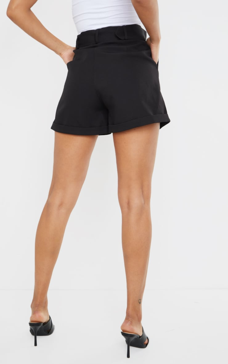Black Woven Belted Tailored Shorts 3