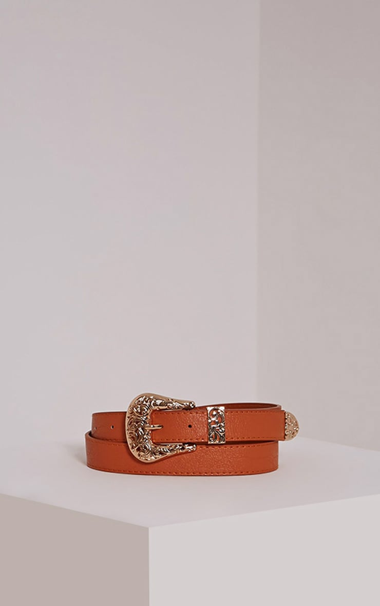 Madina Tan Gold Buckle Belt 1