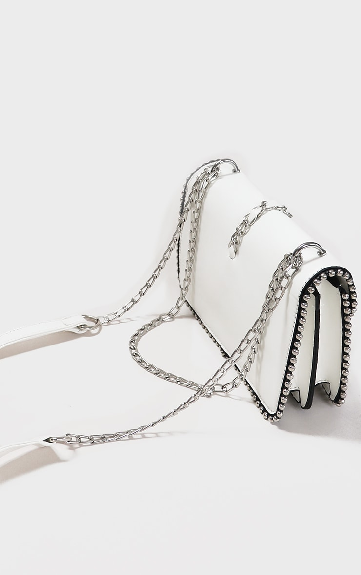 White PU Chain And Tassel Trim Cross Body Bag 4