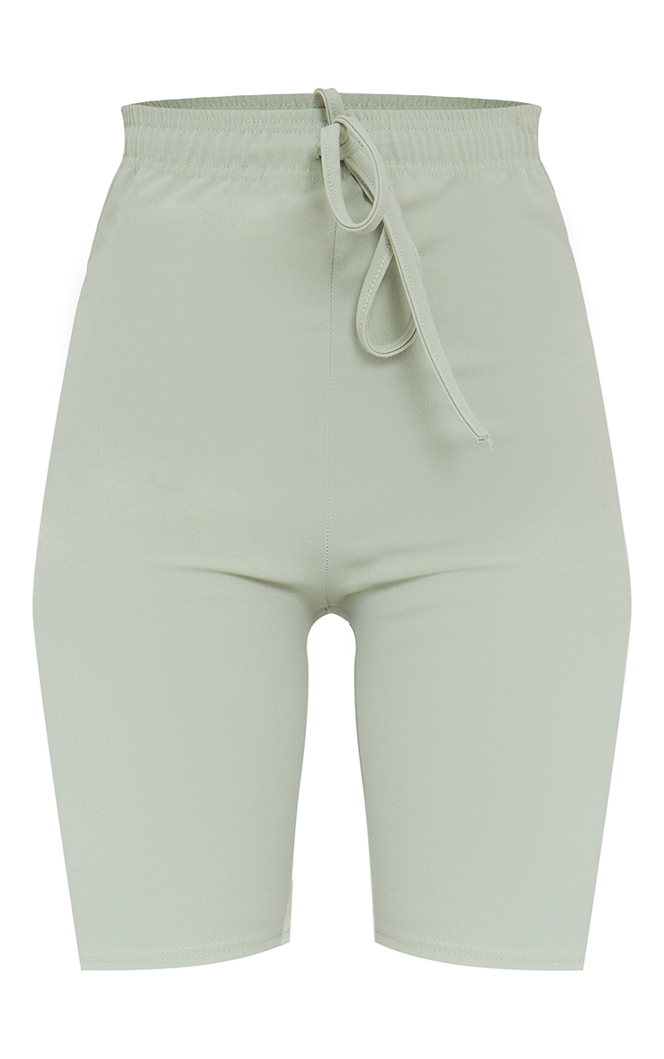 Sage Green Stretch Crepe Tie Waist Bike Shorts 6