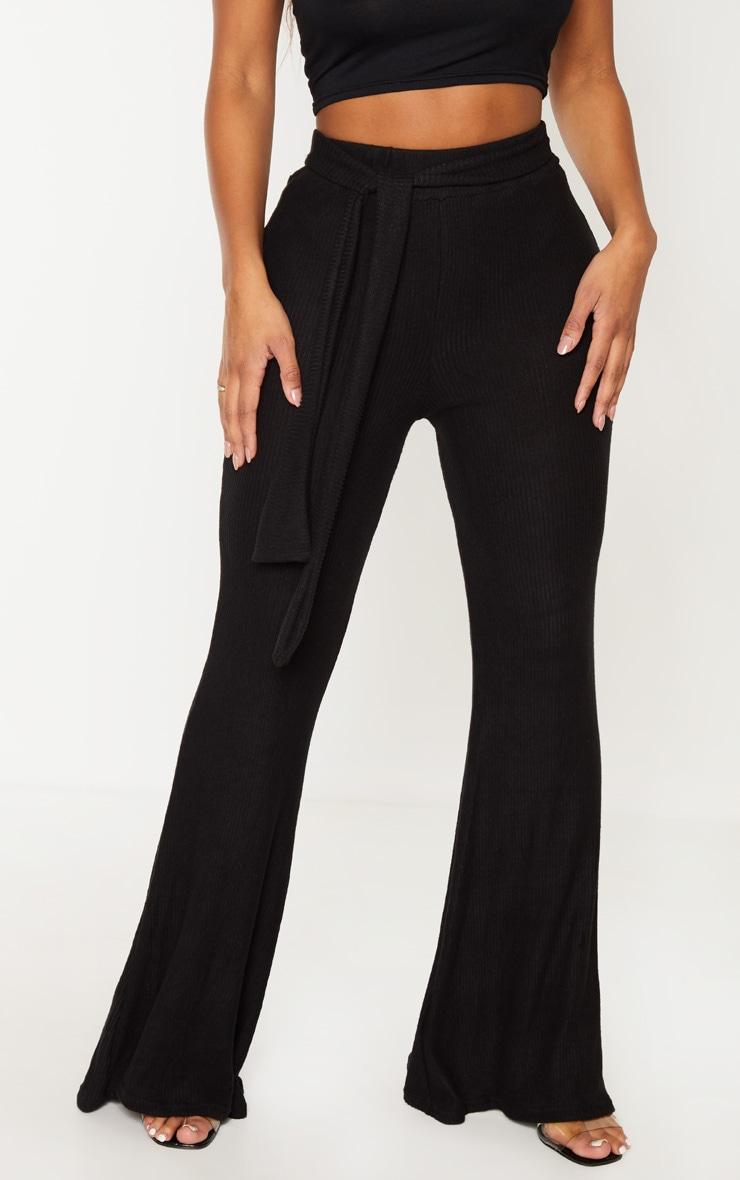 Shape Black Brushed Rib Tie Waist Wide Leg Pants 2