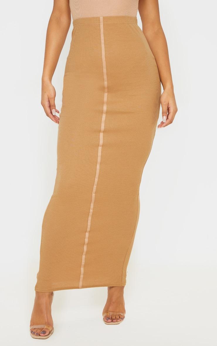 Camel Rib Seam Detail Maxi Skirt 2