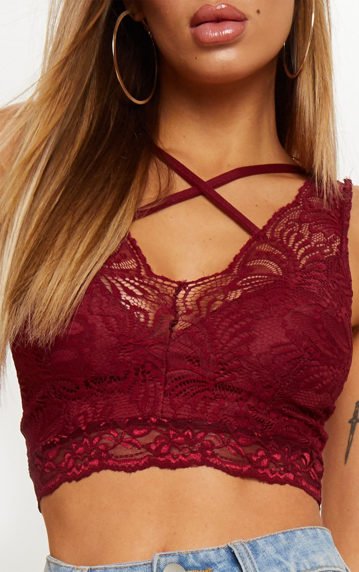 Burgundy Lace Cross Front Detail Bralet 5