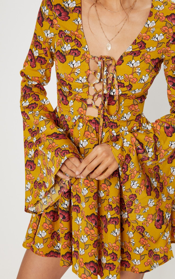 Mustard Floral Fluted Sleeve Strappy Detail Skater Dress 5