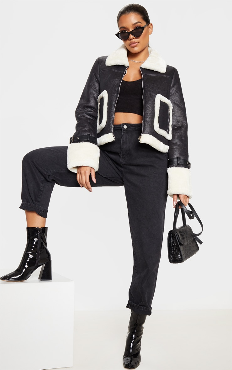 Black Borg Trim Cropped PU Jacket 1