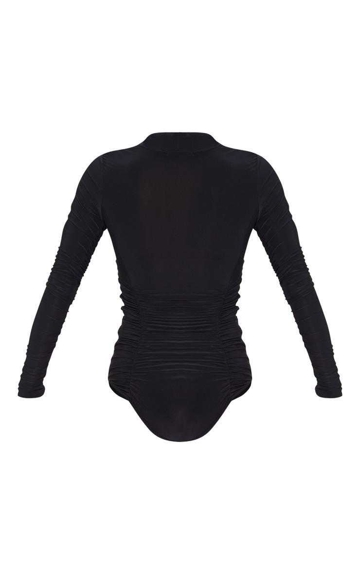 Black Slinky High Neck Ruched Bodysuit 4