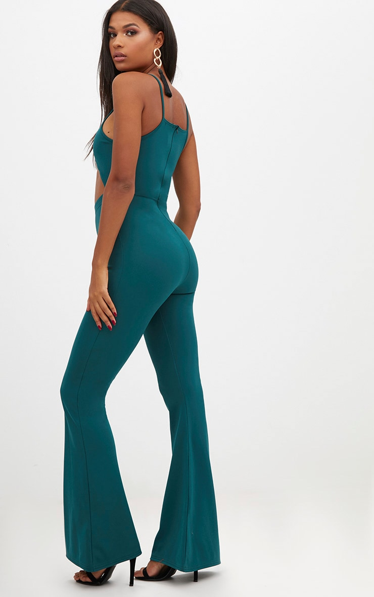 Forest Green Open Middle Wide Leg Jumpsuit 2