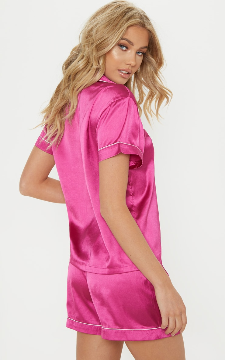 Fuchsia Short Satin PJ Set 2