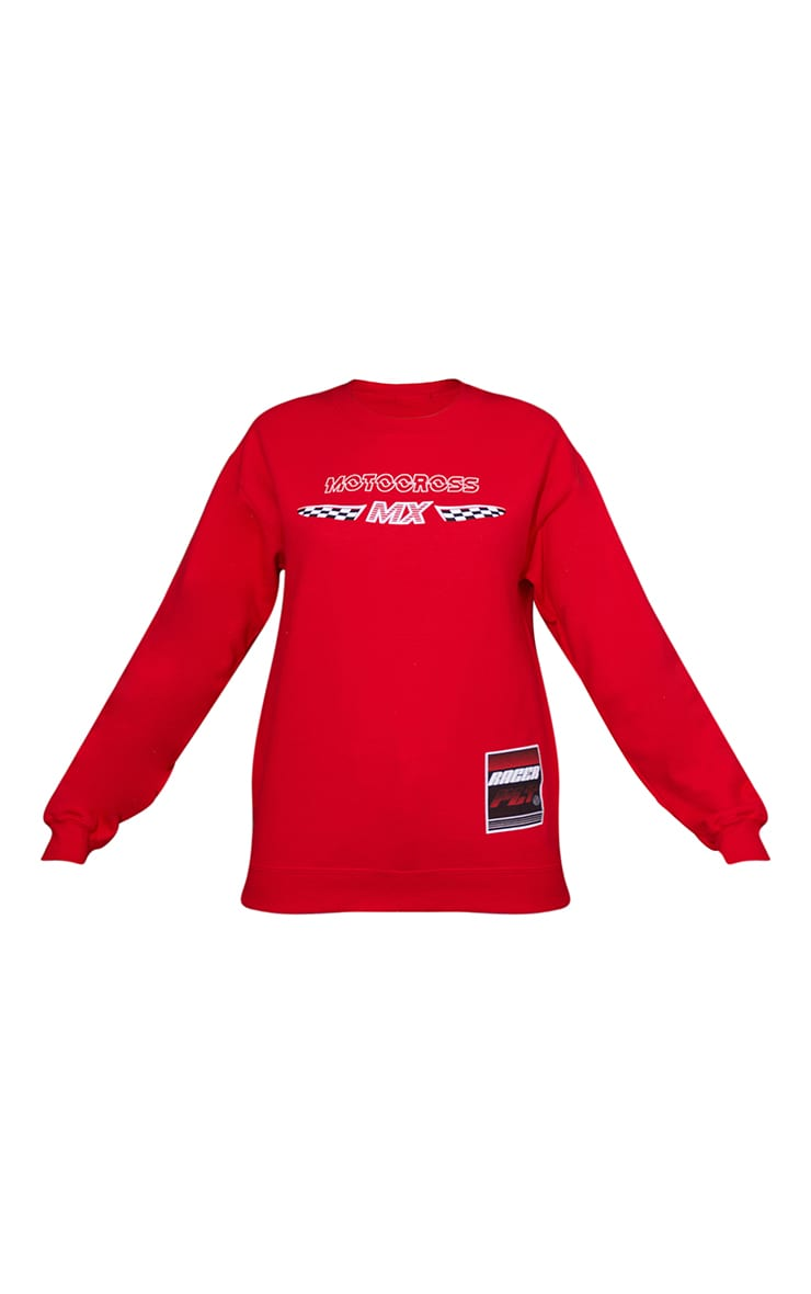 Red Motocross Mx Slogan Printed Sweatshirt 5