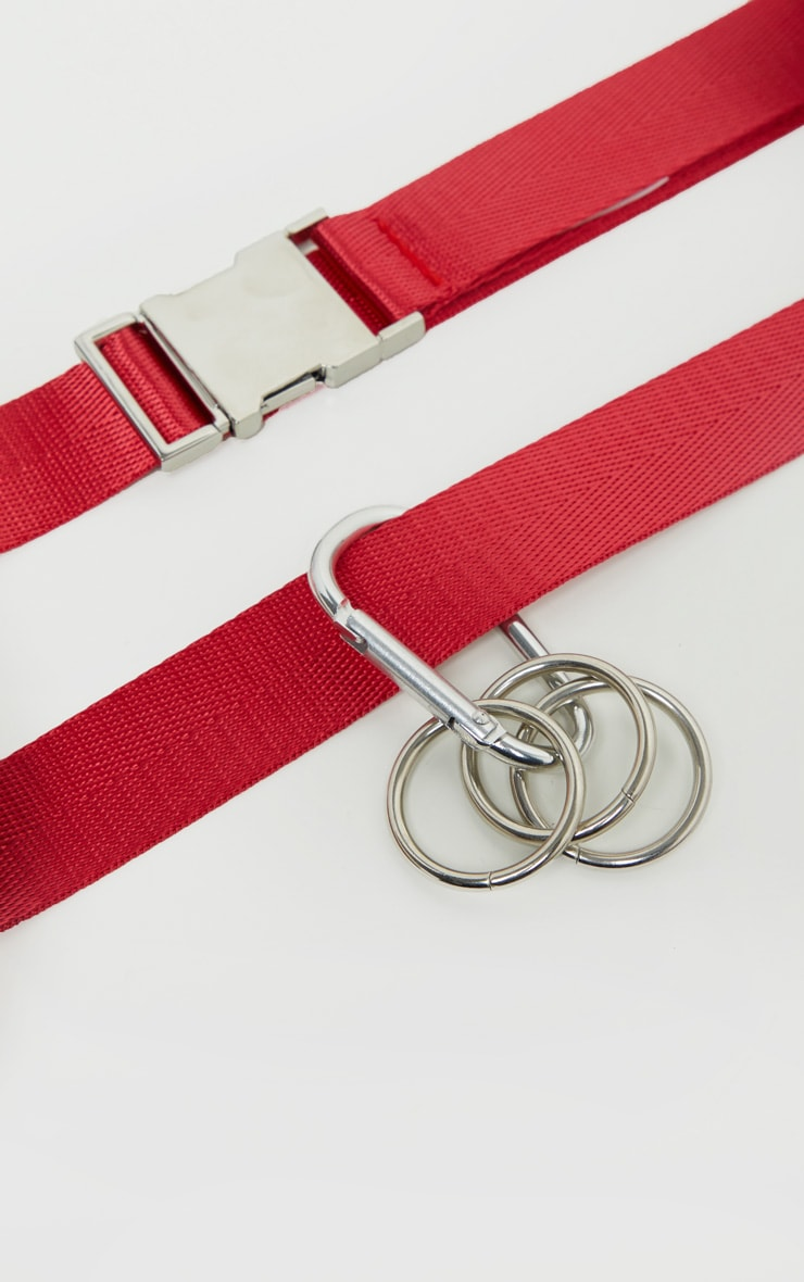 Red Carabiner Clip Double Taping Belt 3