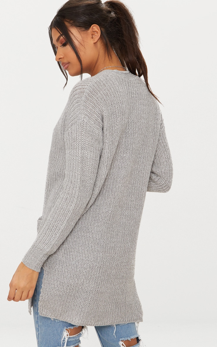 Grey Chunky Knit Pocket Cardigan 2
