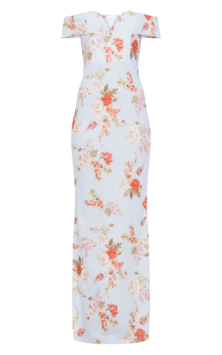 Dusty Blue Floral Print Bardot V Plunge Maxi Dress 3