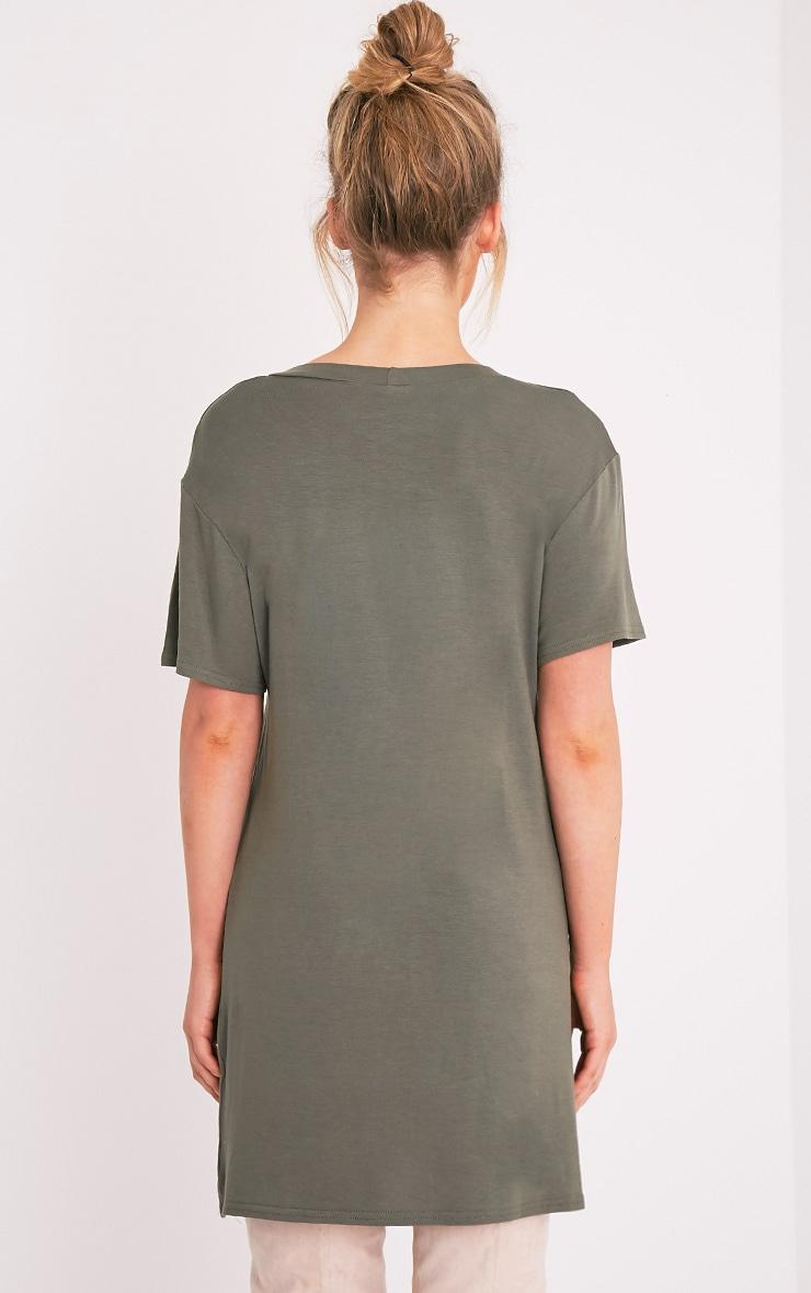 Wasted Youth Printed Khaki T-Shirt Dress 2
