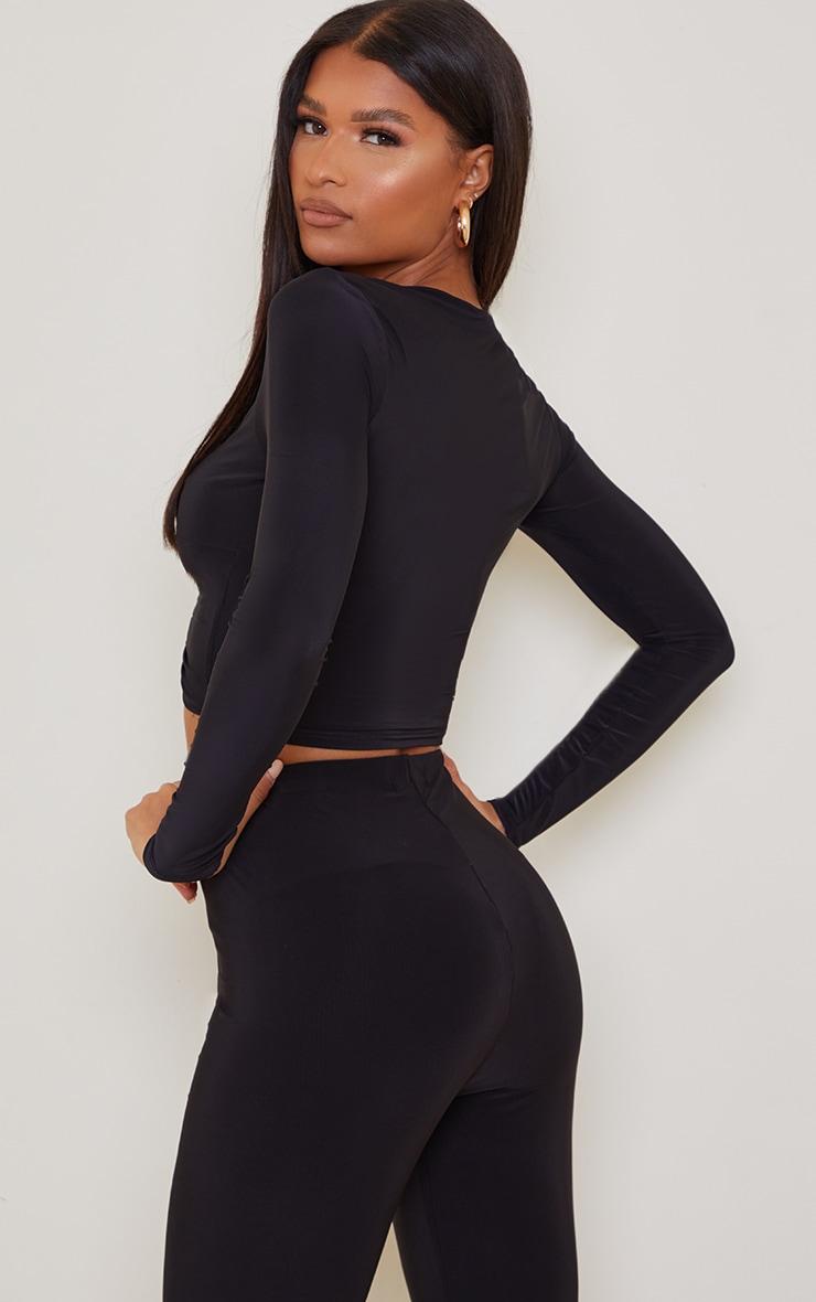 Black Slinky Long Sleeve Ruched Tie Front Crop Top 2