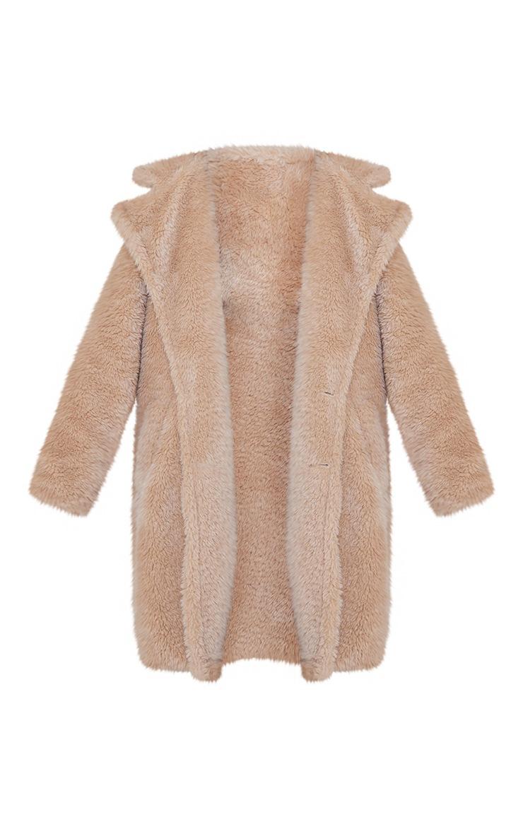 Camel Teddy Faux Fur Hooded Coat 5