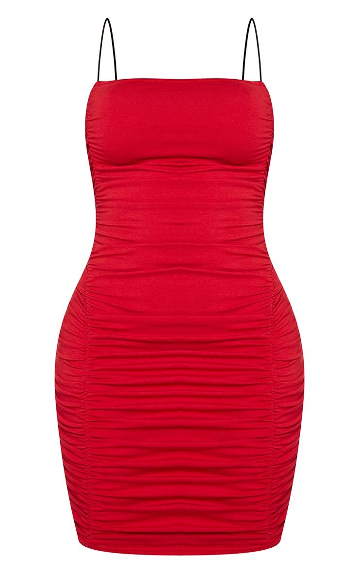 Shape Red Cotton Spaghetti Strap Ruched Bodycon Dress 5