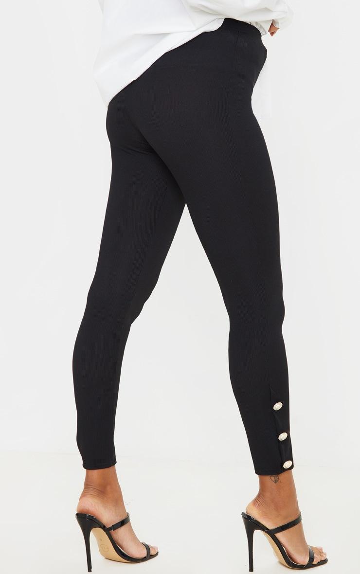 Black Button Hem Detail Leggings 4