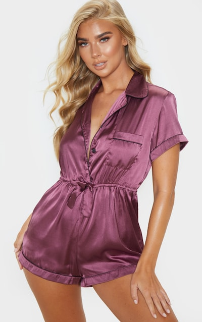 Berry Button Front Satin Romper