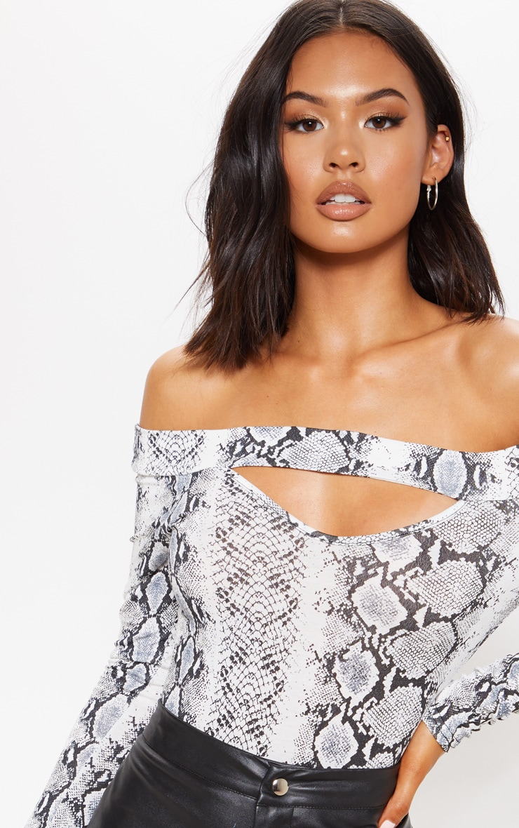 Grey Snake Printed Bardot Cut Out Bodysuit 6