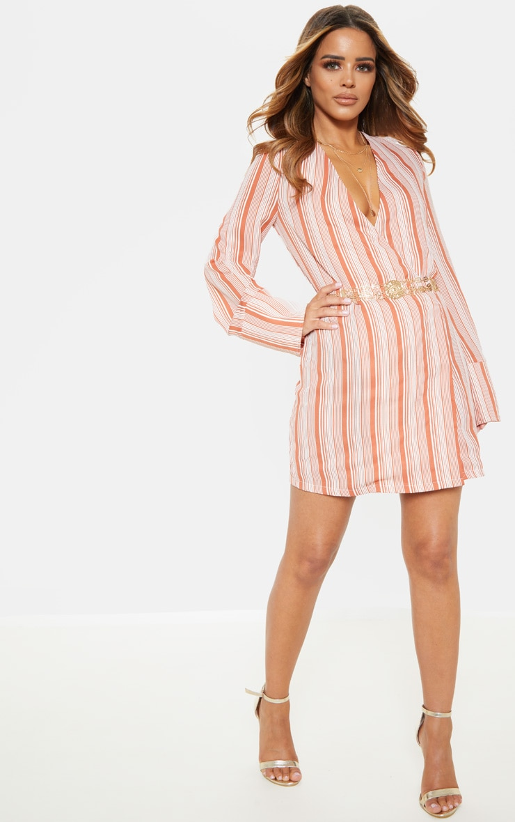 Petite Rust  Striped Plunge Flare Sleeve Blazer Dress 1