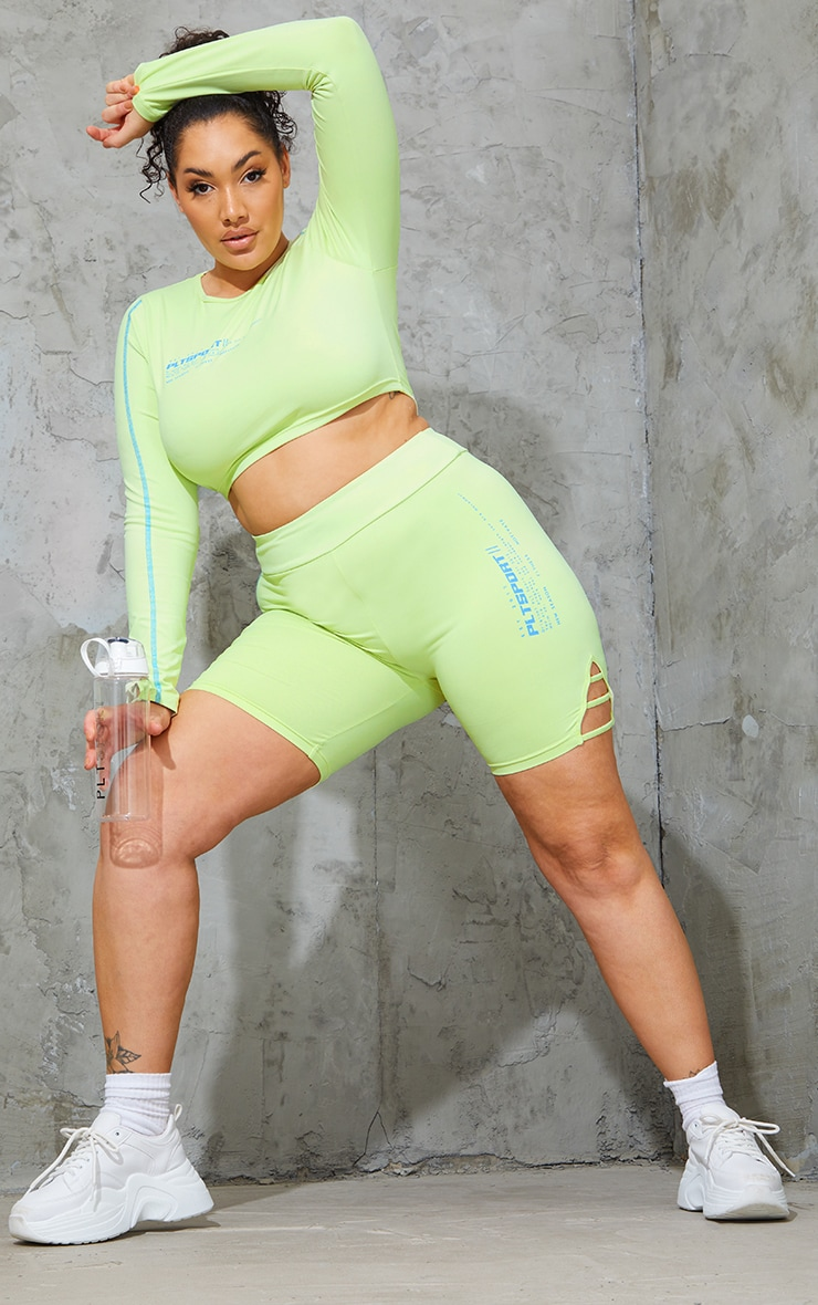 Plus Lime Cut Out Piping Detail Bike Shorts 1