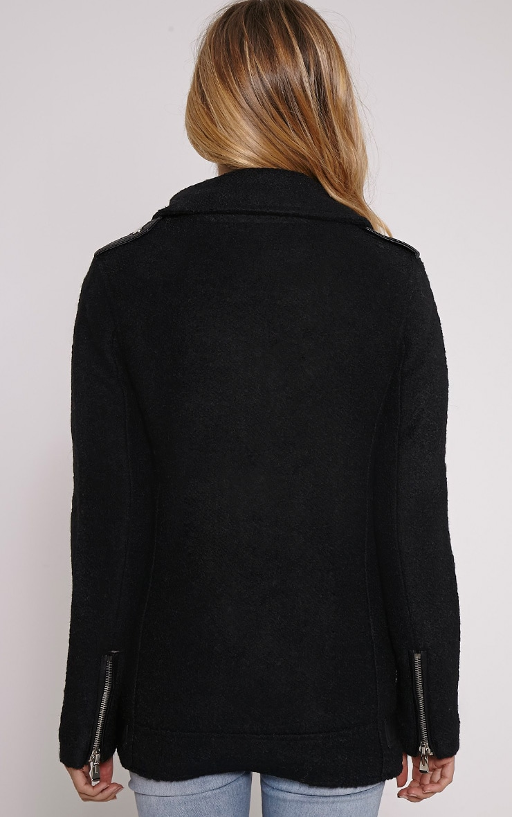 Keeva Black Faux Wool Biker Style Jacket 2