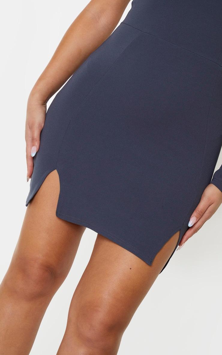 Charcoal Blue One Shoulder Double Split Hem Bodycon Dress 5
