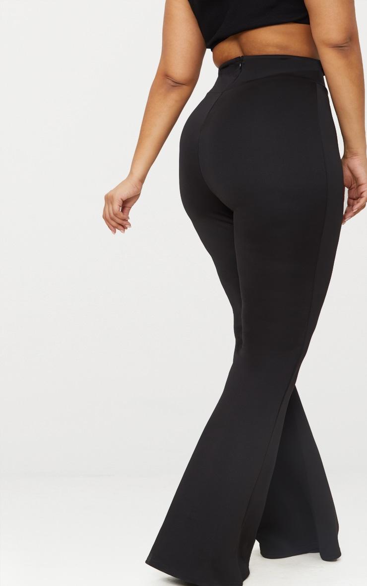 Plus Black Scuba Curve Waist Band Detail Flared Trousers  3