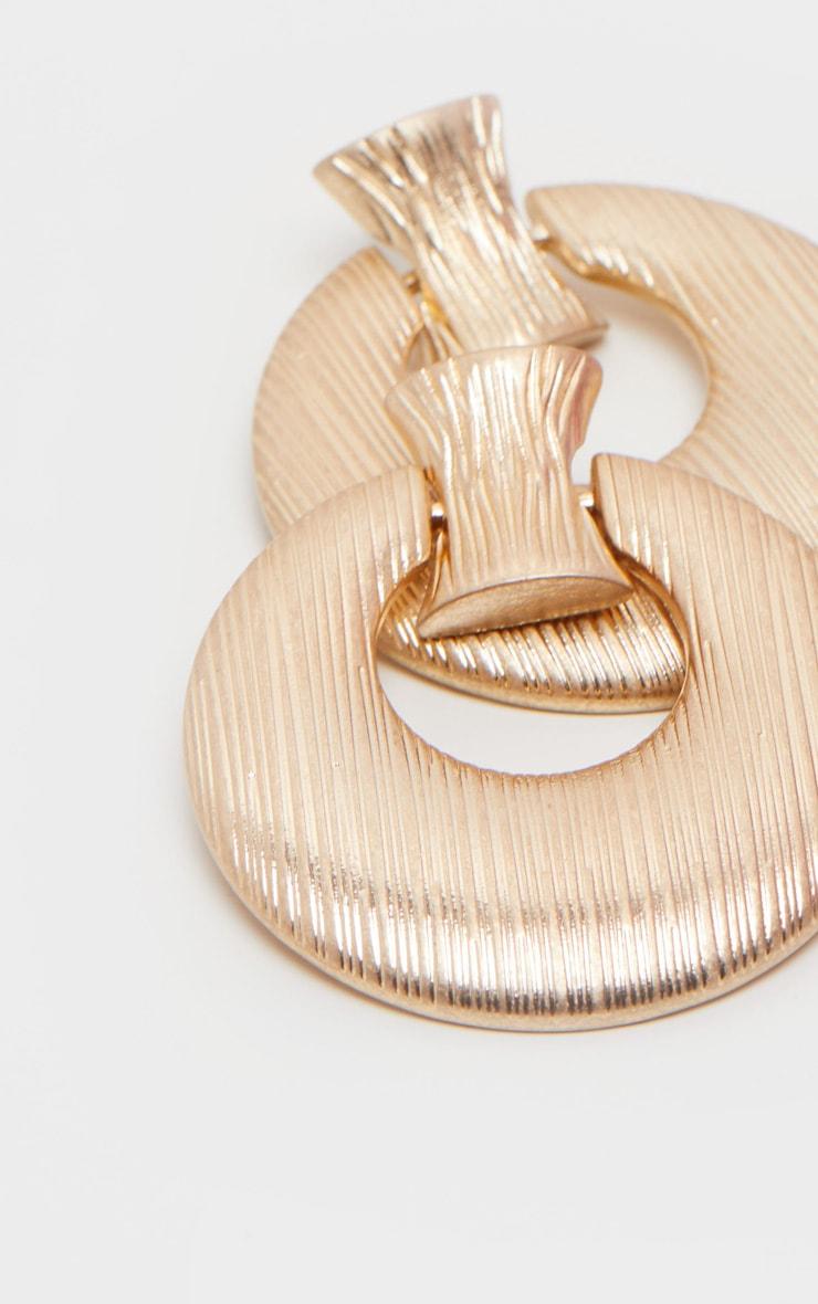 Gold Brushed Round Door Knocker Earrings 3