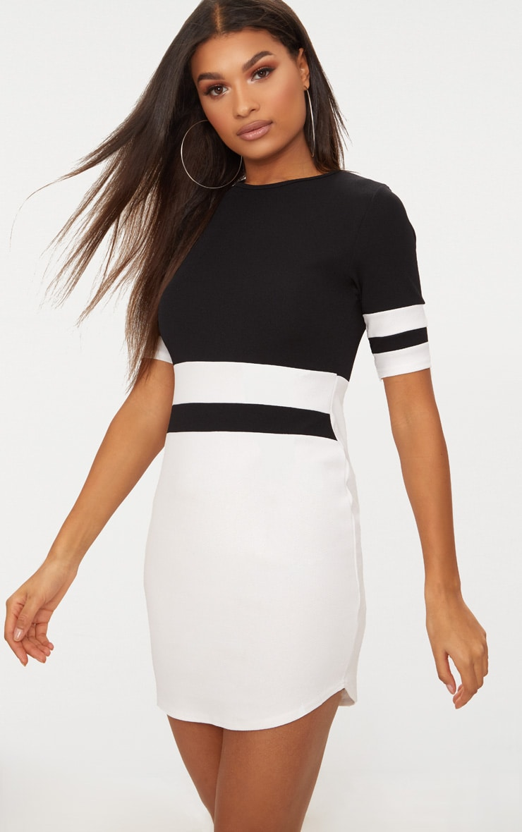 Monochrome Sports Stripe Bodycon Dress 1