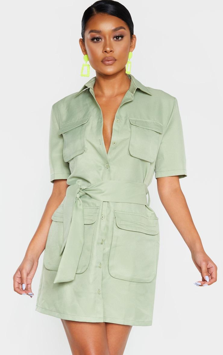 Sage Green Utility Short Sleeve Shirt Dress 4