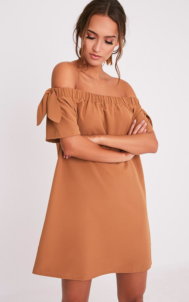Cayla Camel Crepe Bardot Swing Dress 1