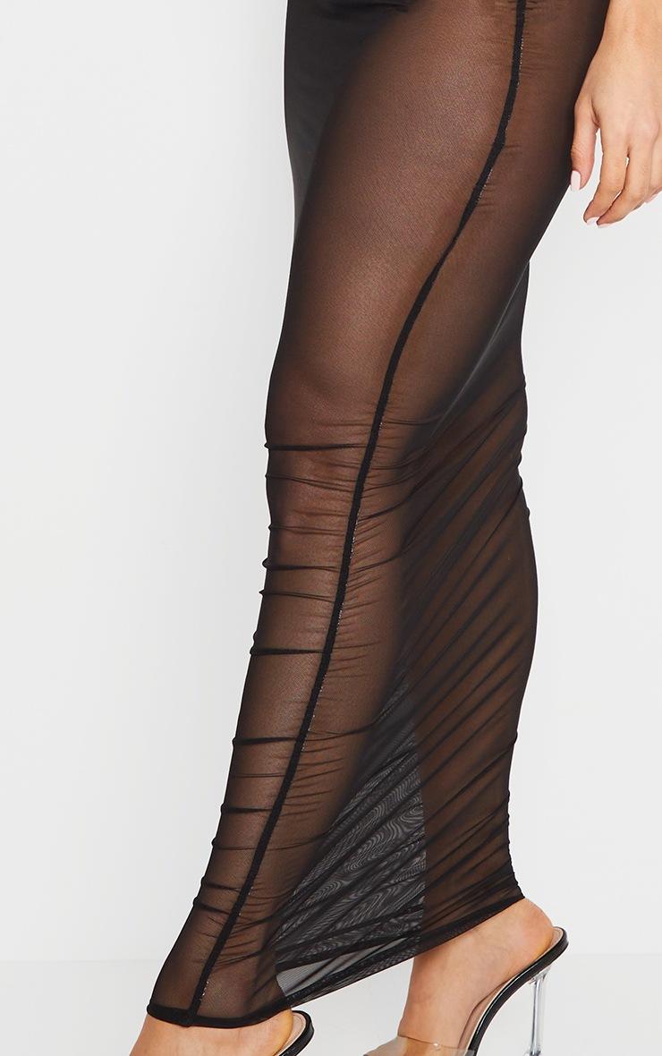 Robe très longue noire en mesh froncé transparent à bretelles transparentes  4