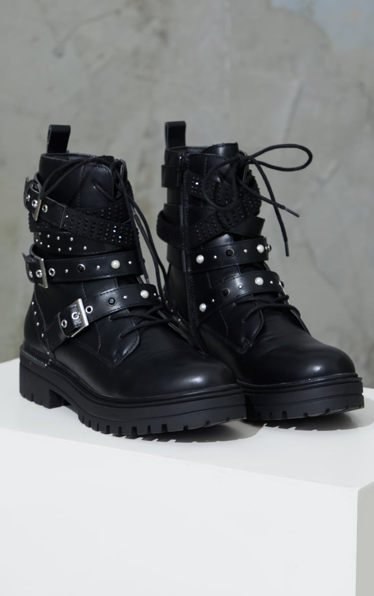 Black PU Buckle Triple Strap Chunky Sole Biker Boots 3