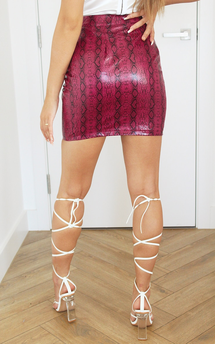 Hot Pink Snake Print Faux Leather Mini Skirt 3