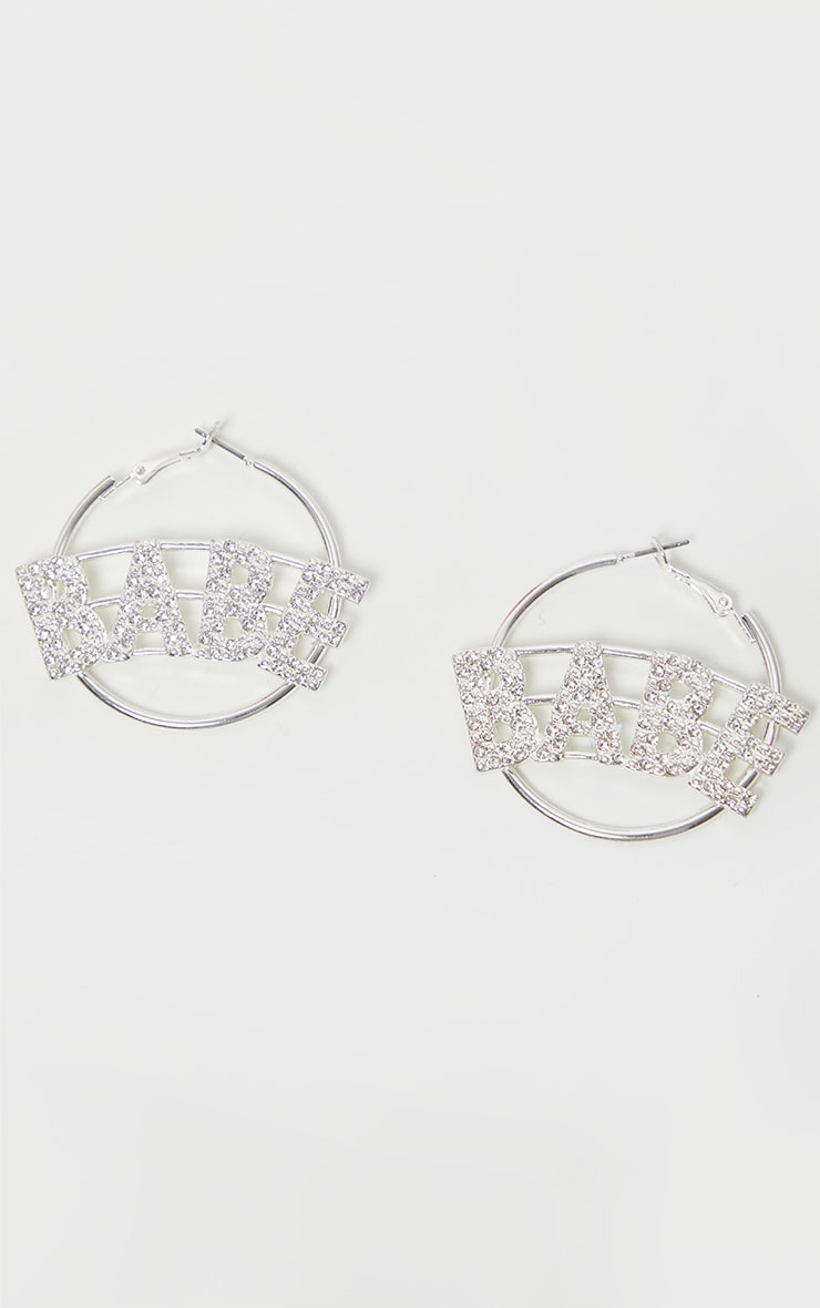 Silver Diamante Babe Small Hoop Earrings 2