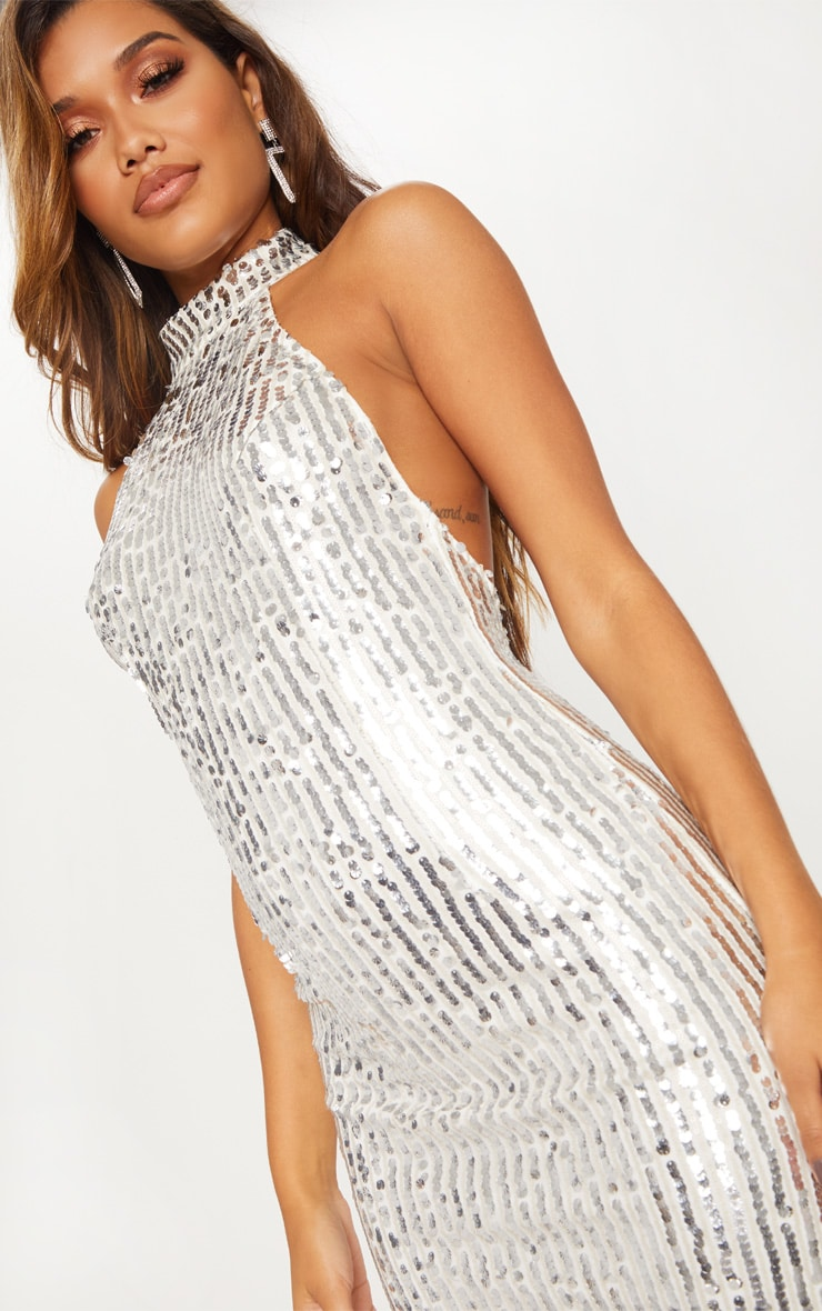 Silver Sequin High Neck Bodycon Dress 6