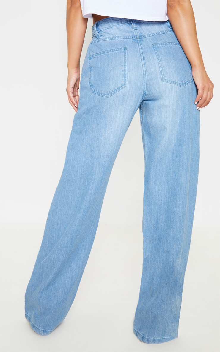 Petite Light Wash Extreme Wide Leg Jean 4