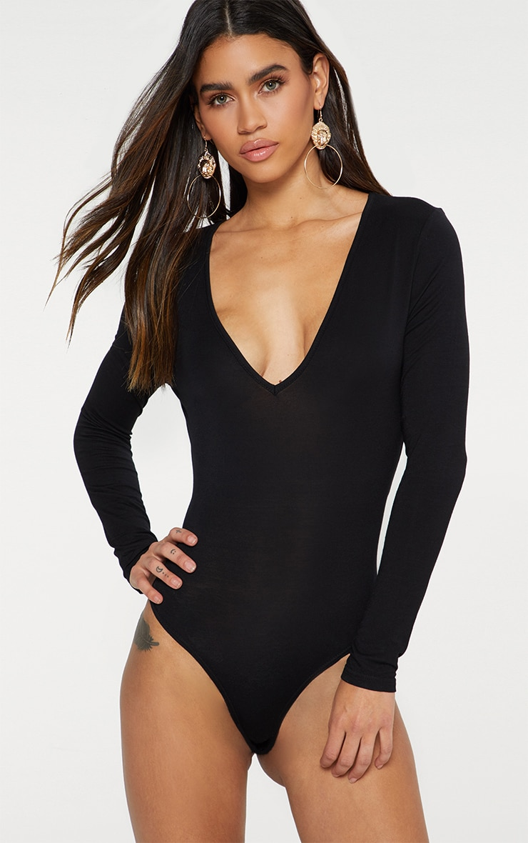 Basic Black V Neck Long Sleeve Bodysuit 2