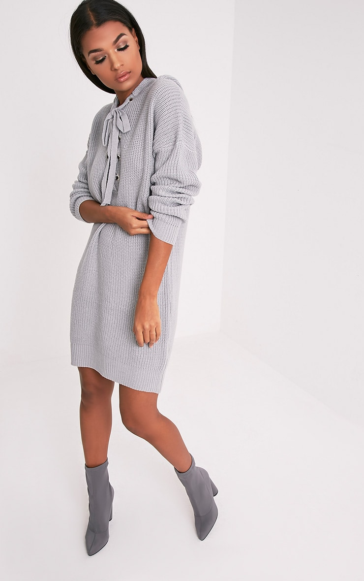 Megaen Grey Oversized Hoodie Knitted Dress 1