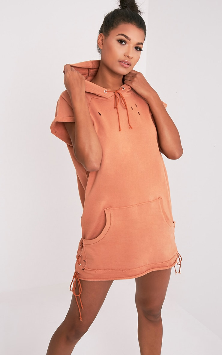Tilly Deep Peach Distressed Lace Up Detail Sweater Dress 1
