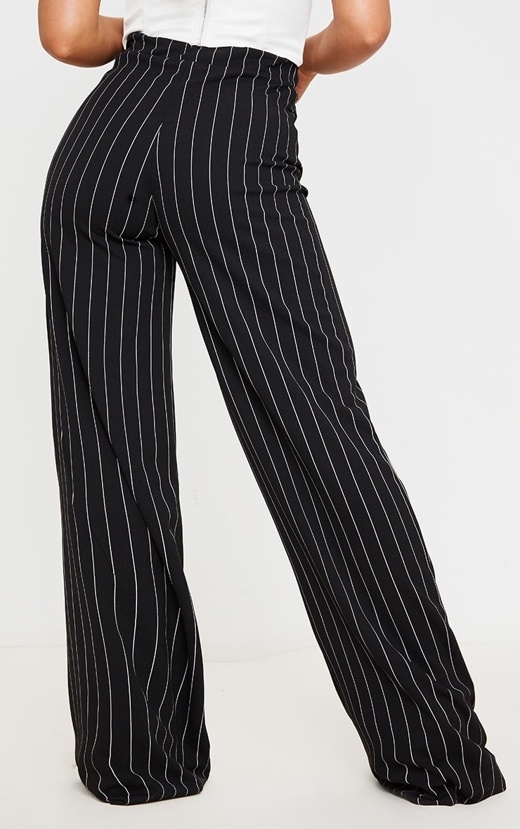 Black Pinstripe Pocket Detail Crepe Wide Leg Trousers 4