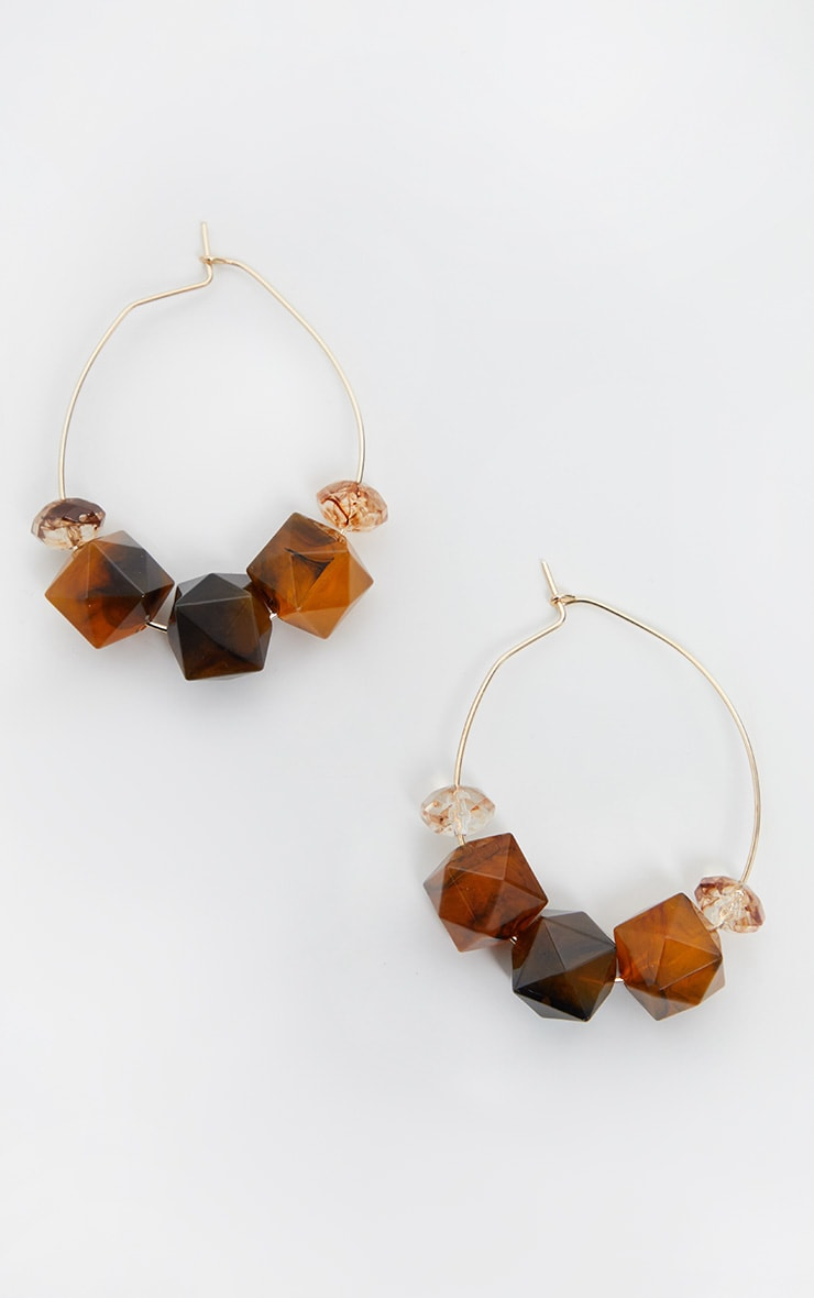 Brown Multi Shape Beaded Oval Hoop Earrings 2