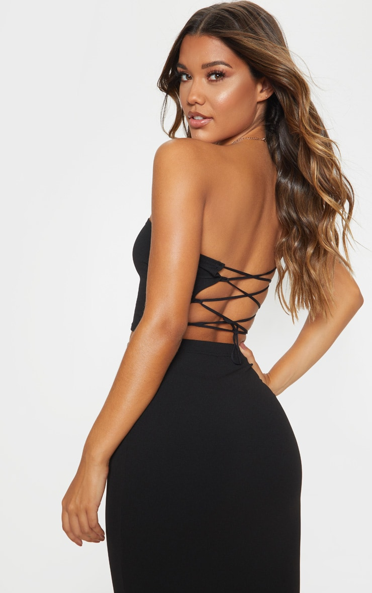 Black Crepe Bandeau Lace Back Detail Crop Top 1