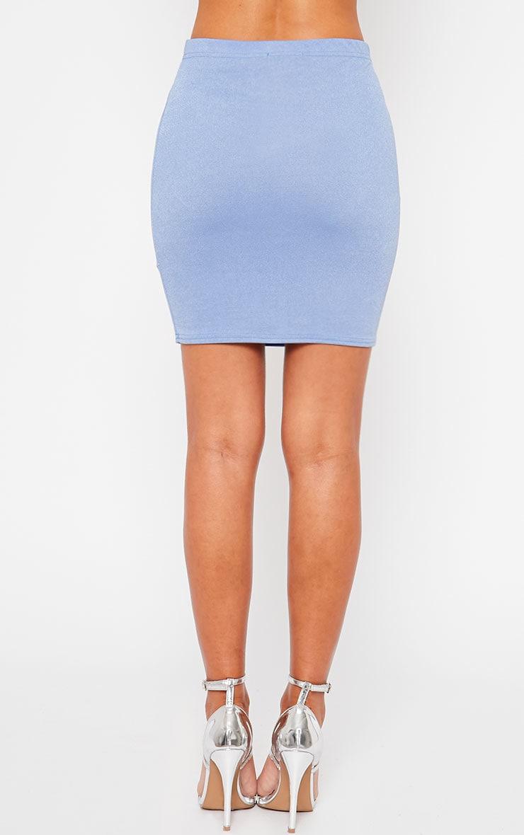 Emilia Blue Crepe Mini Skirt 4