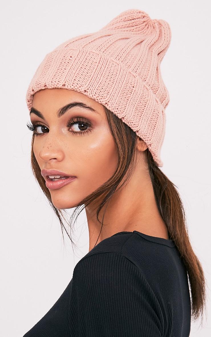 Hetra Blush Ribbed Beanie Hat 3
